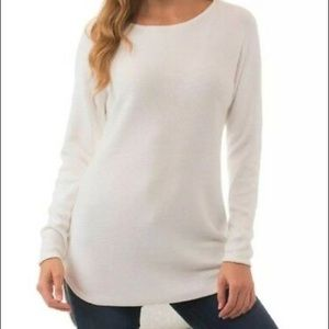 Michael Kors   White Tunic Hi-Lo Zipper Sweater